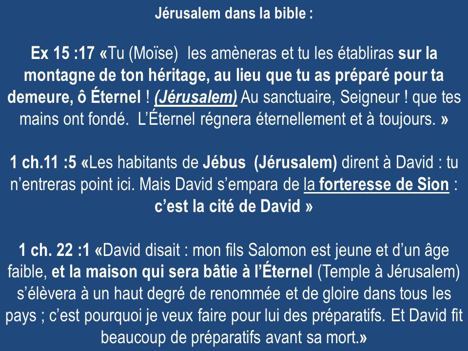 Jérusalem dans la bible : Ex 15 :17 «Tu (Moïse) les amèneras et tu les établiras sur la montagne de ton héritage, au lieu que tu as préparé pour ta demeure, ô Éternel .