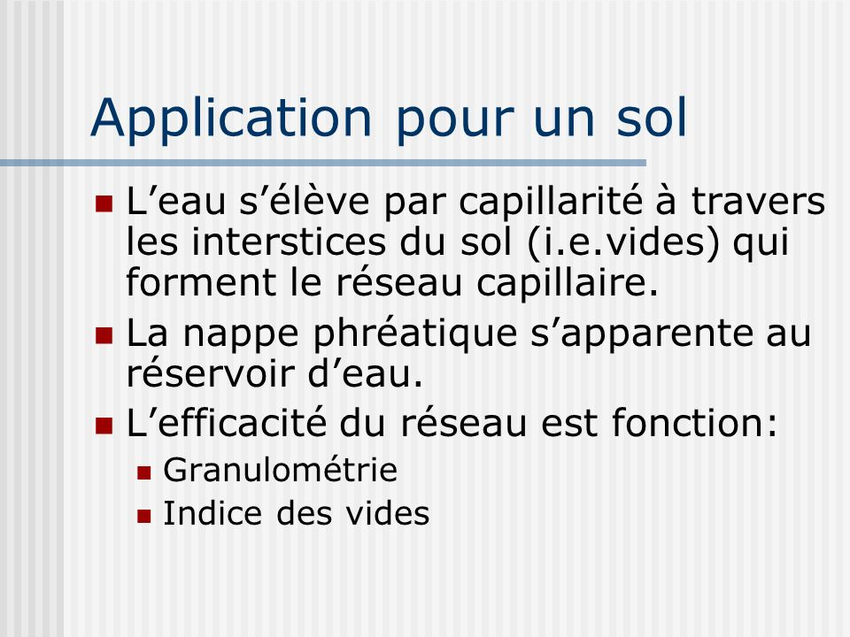 Application pour un sol