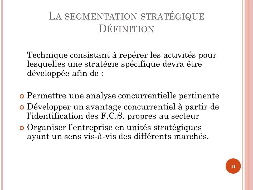 La segmentation stratégique Définition