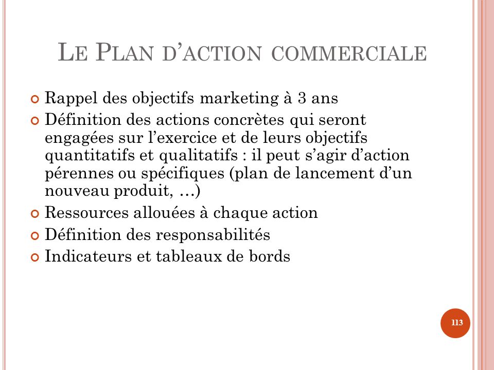Le Plan d'action commerciale