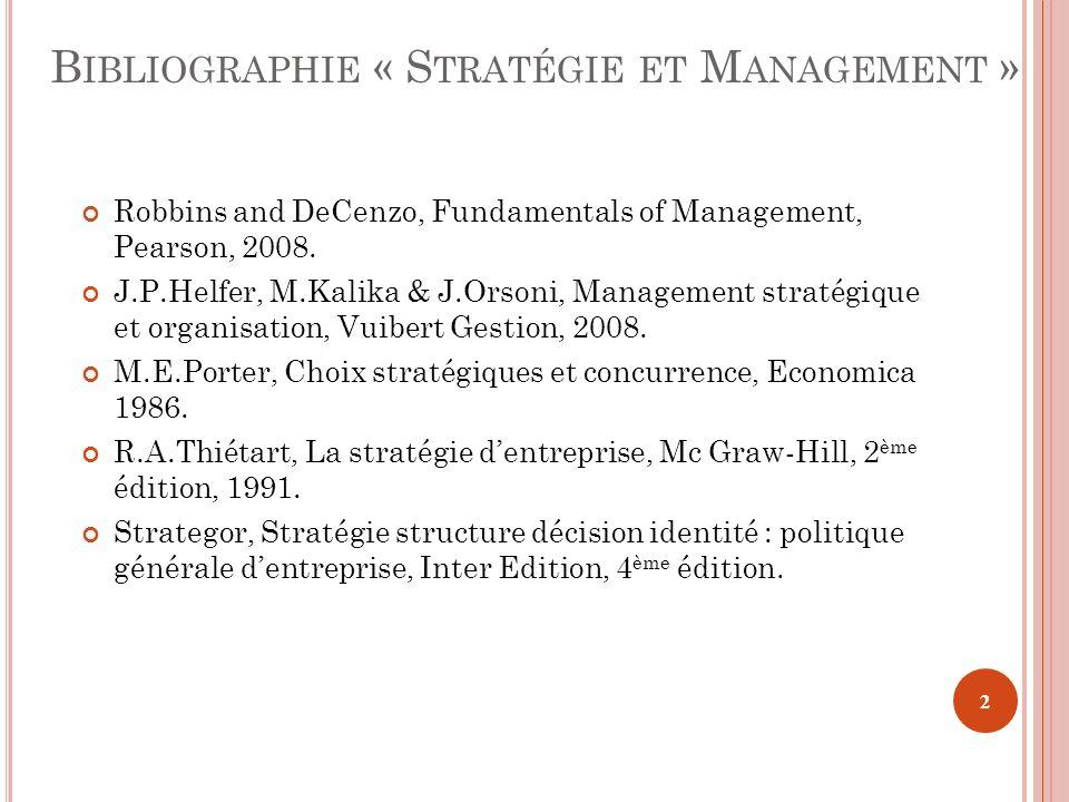 Bibliographie « Stratégie et Management »