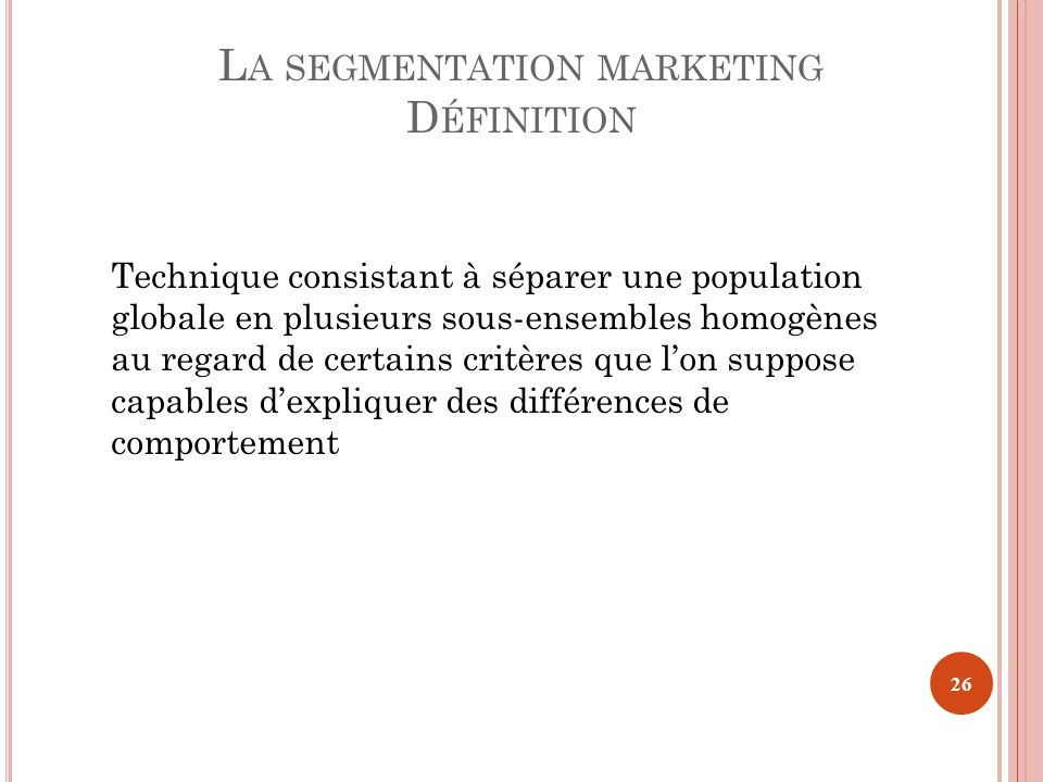 La segmentation marketing
