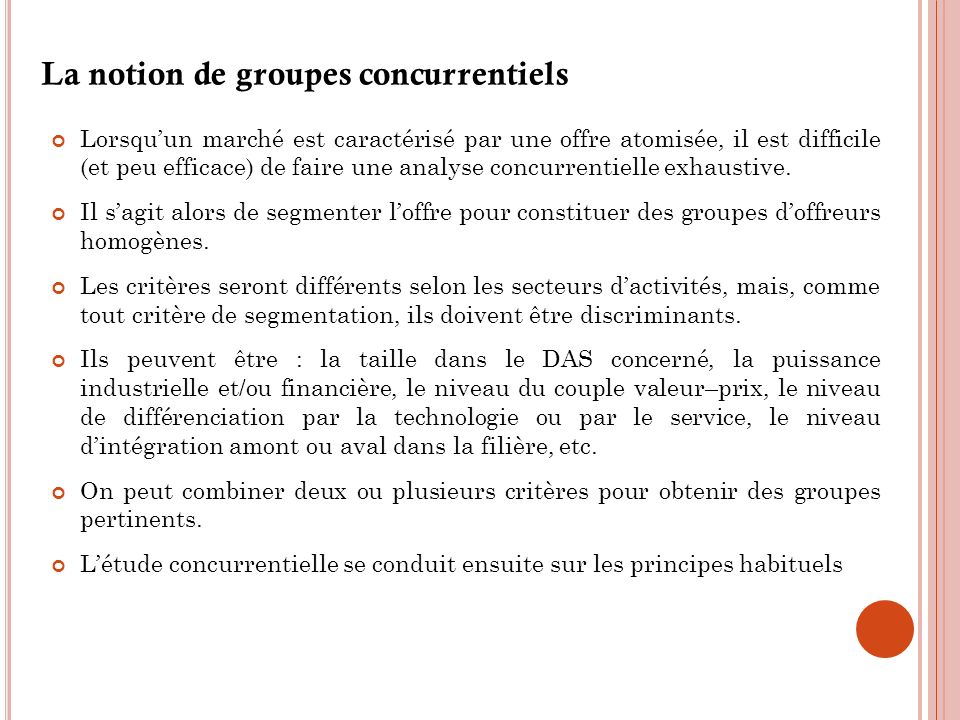 La notion de groupes concurrentiels