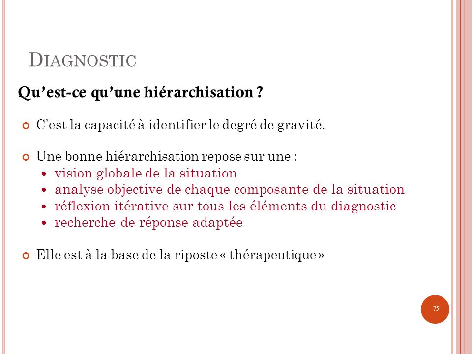Diagnostic Qu'est-ce qu'une hiérarchisation