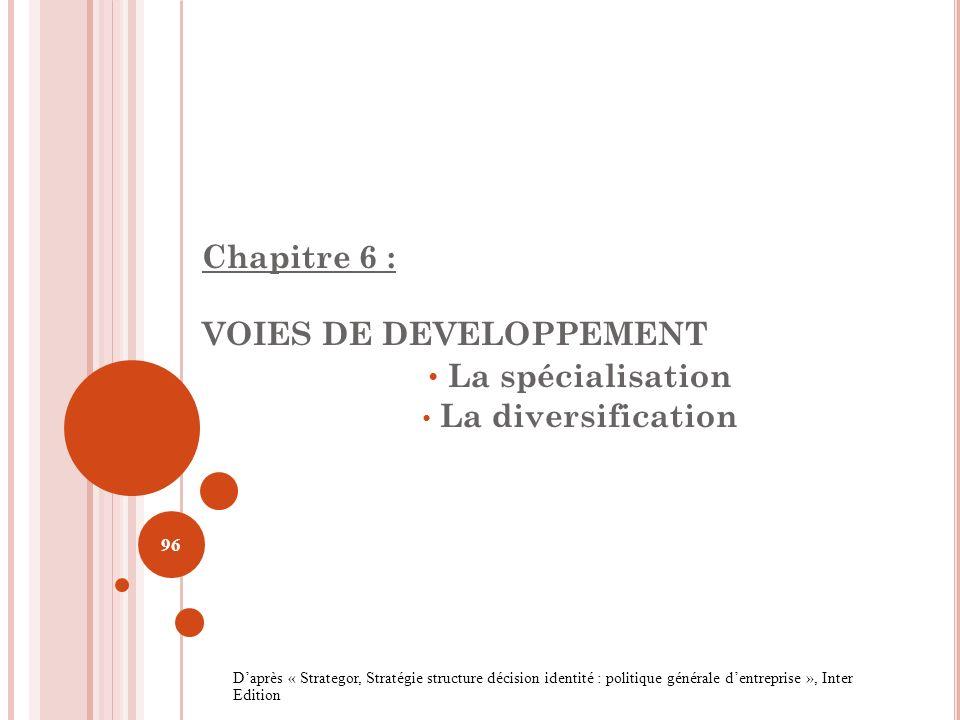 La spécialisation Chapitre 6 : VOIES DE DEVELOPPEMENT
