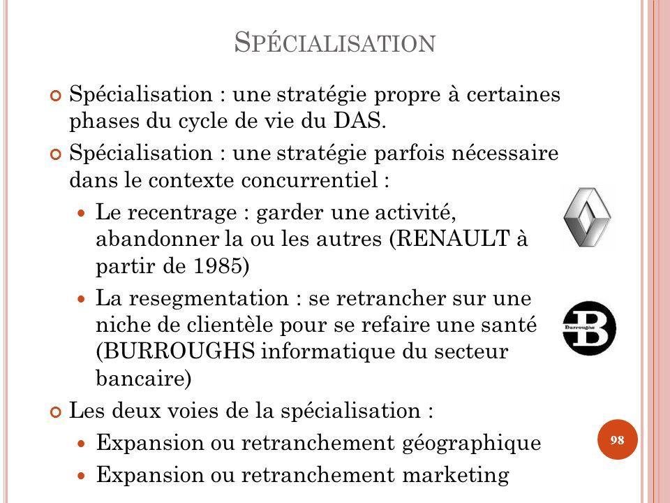 Spécialisation Spécialisation : une stratégie propre à certaines phases du cycle de vie du DAS.