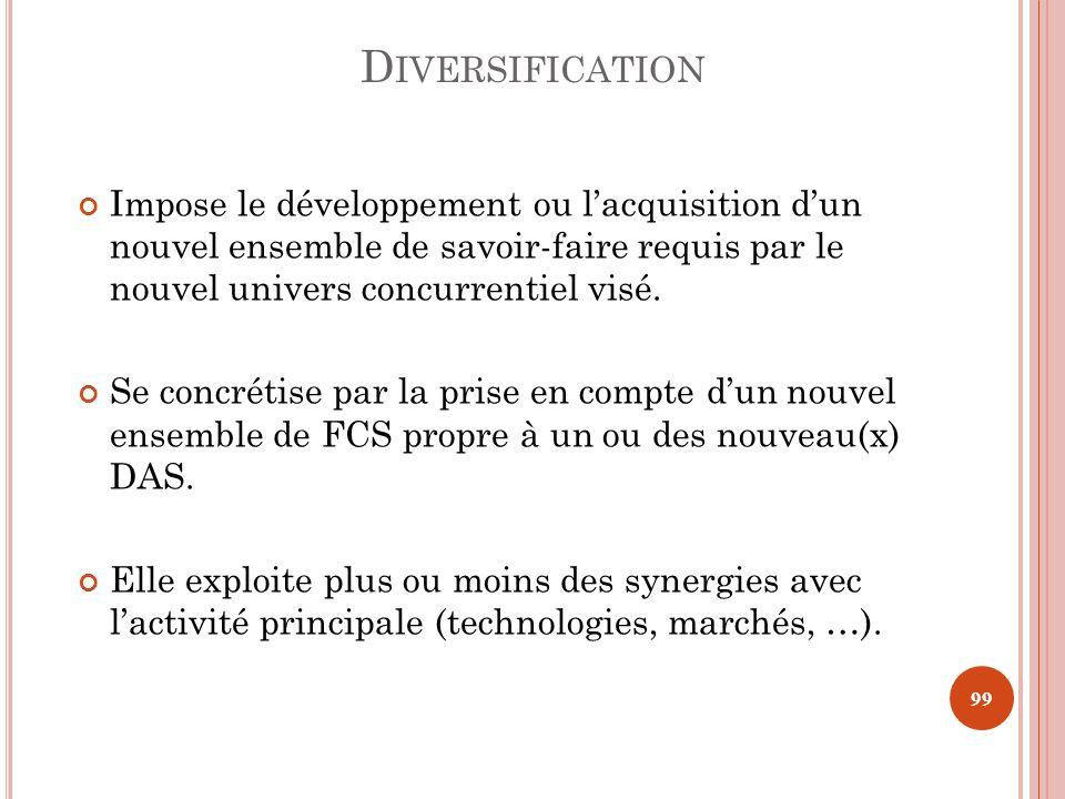 Diversification Impose le développement ou l'acquisition d'un nouvel ensemble de savoir-faire requis par le nouvel univers concurrentiel visé.