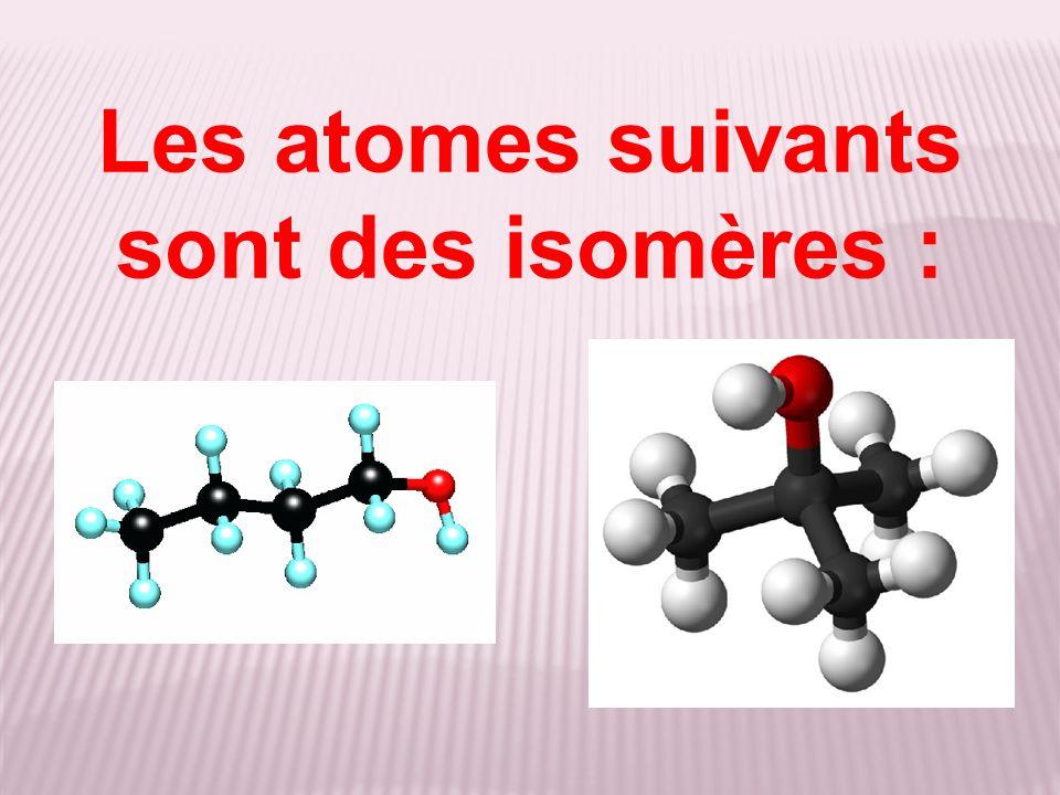 Les atomes suivants sont des isomères :
