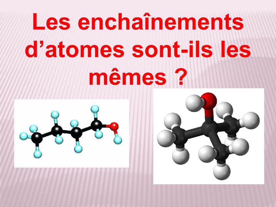 Les enchaînements d'atomes sont-ils les mêmes