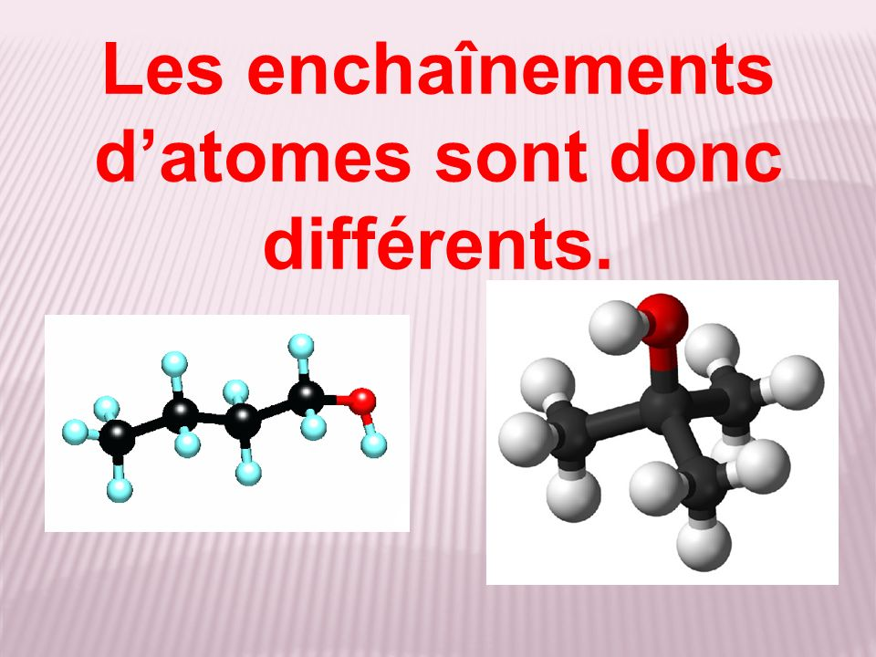 Les enchaînements d'atomes sont donc différents.