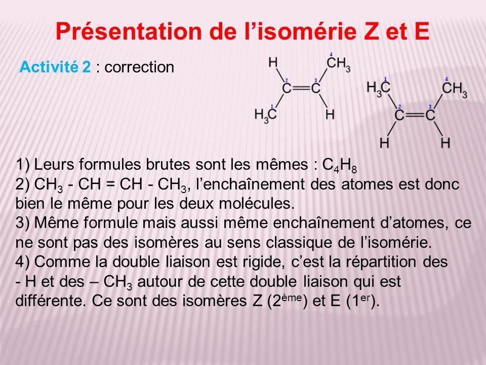 Présentation de l'isomérie Z et E