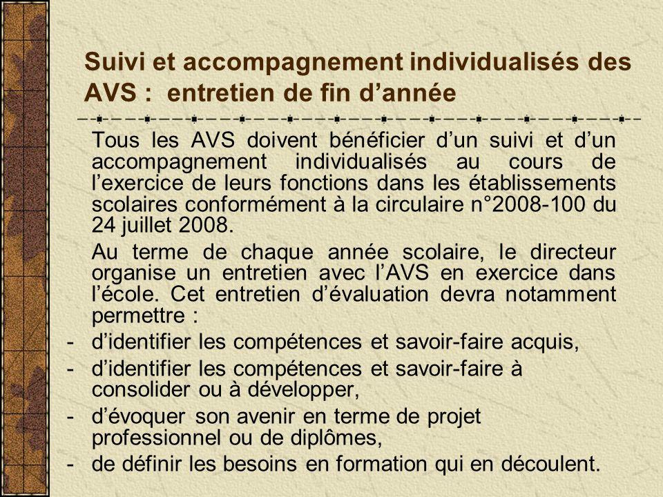 Suivi et accompagnement individualisés des AVS : entretien de fin d'année