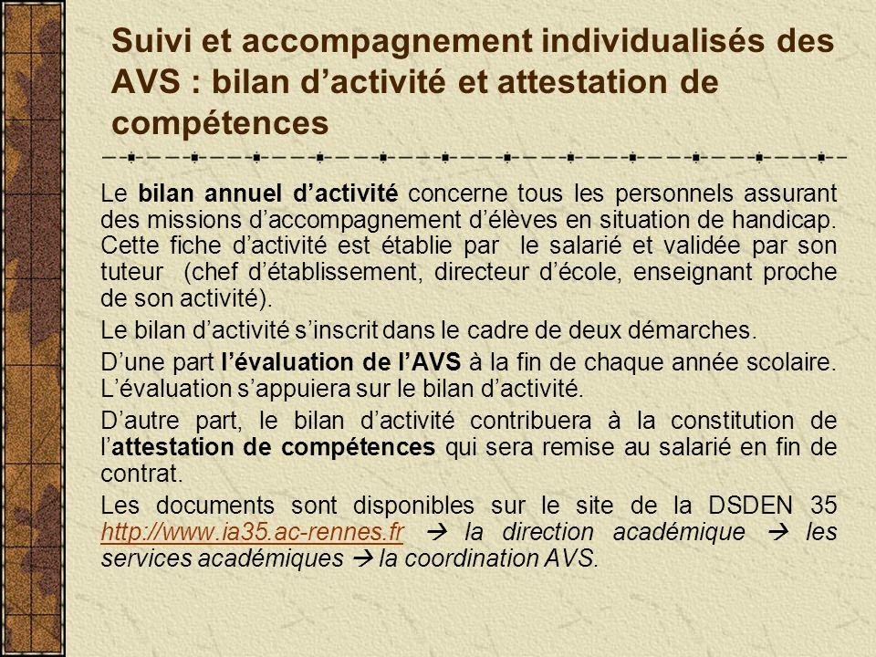 Suivi et accompagnement individualisés des AVS : bilan d'activité et attestation de compétences