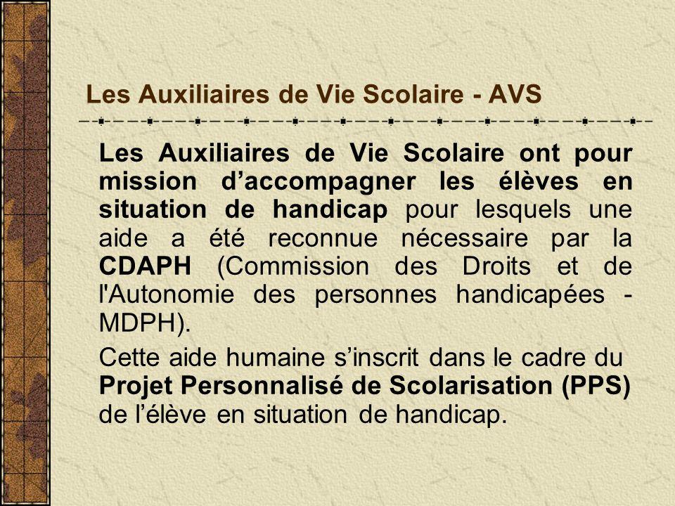 Les Auxiliaires de Vie Scolaire - AVS