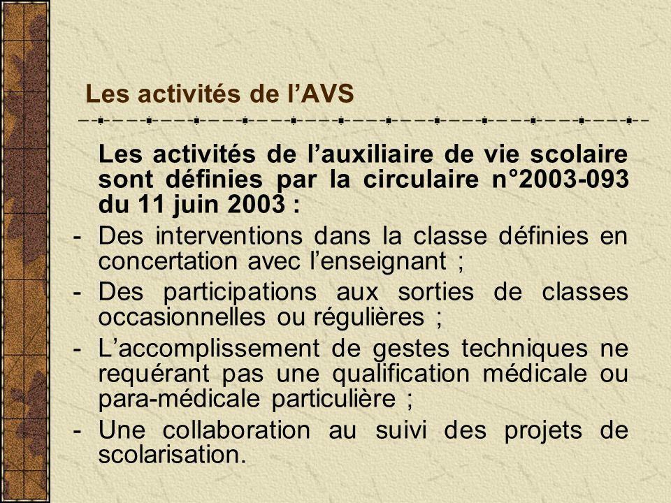 Les activités de l'AVSLes activités de l'auxiliaire de vie scolaire sont définies par la circulaire n°2003-093 du 11 juin 2003 :