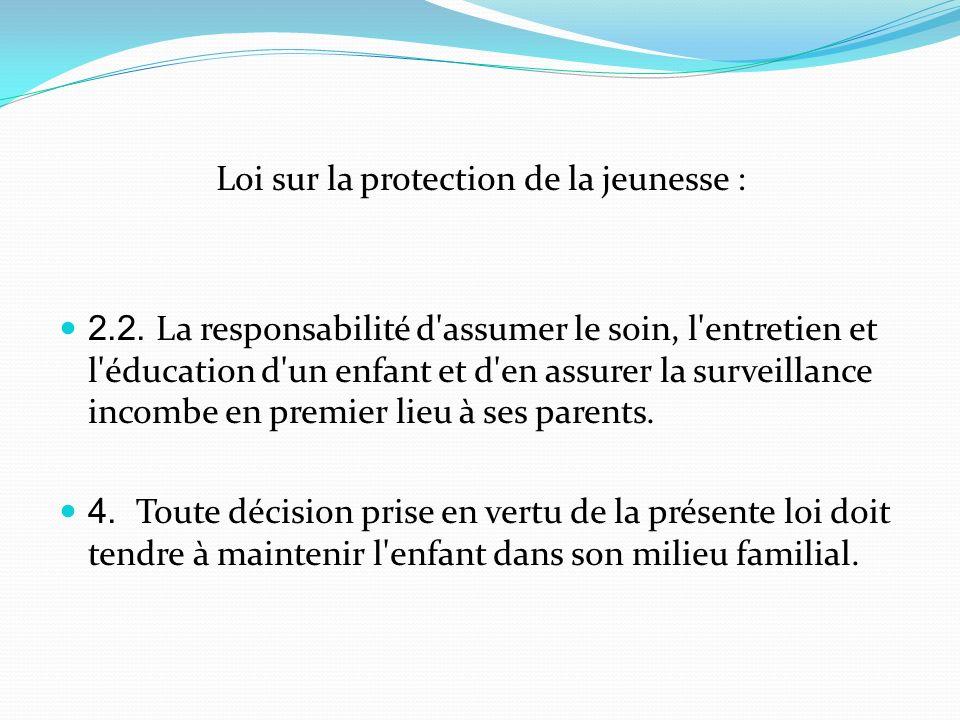 Loi sur la protection de la jeunesse :