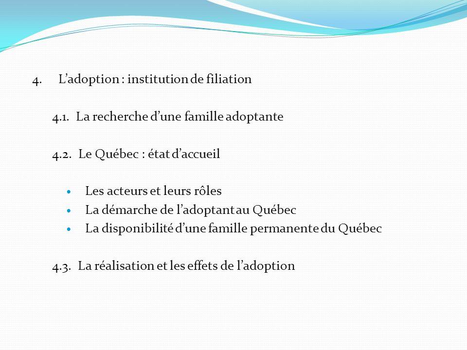 4. L'adoption : institution de filiation