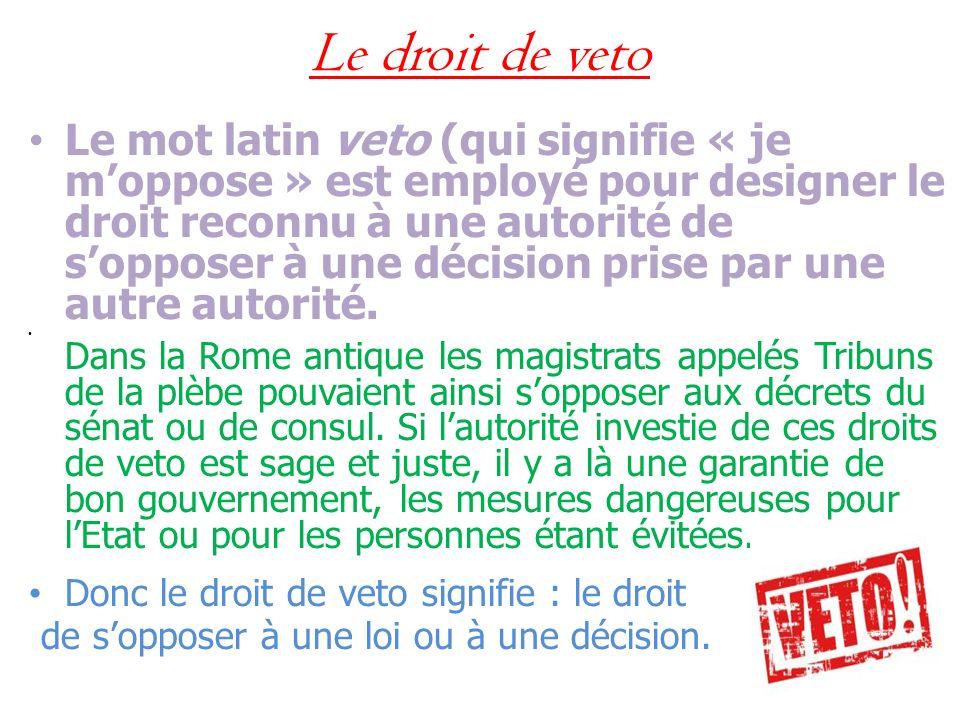 Le droit de veto