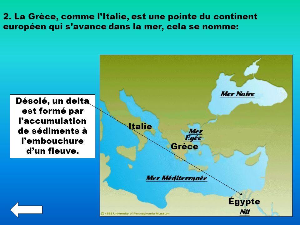 2. La Grèce, comme l'Italie, est une pointe du continent européen qui s'avance dans la mer, cela se nomme: