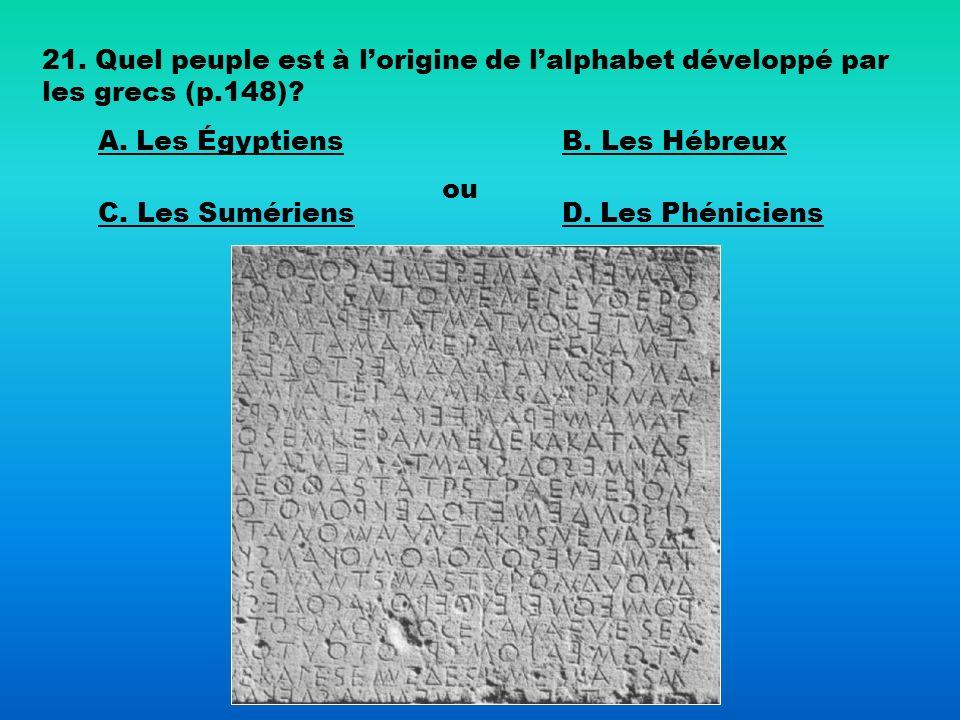 21. Quel peuple est à l'origine de l'alphabet développé par les grecs (p.148)