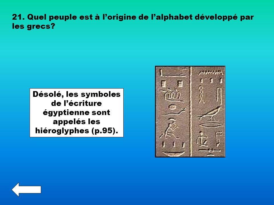 21. Quel peuple est à l'origine de l'alphabet développé par les grecs