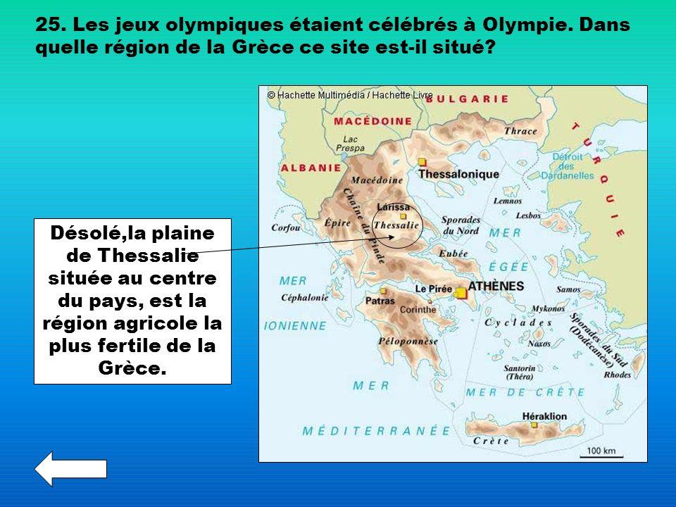 25. Les jeux olympiques étaient célébrés à Olympie