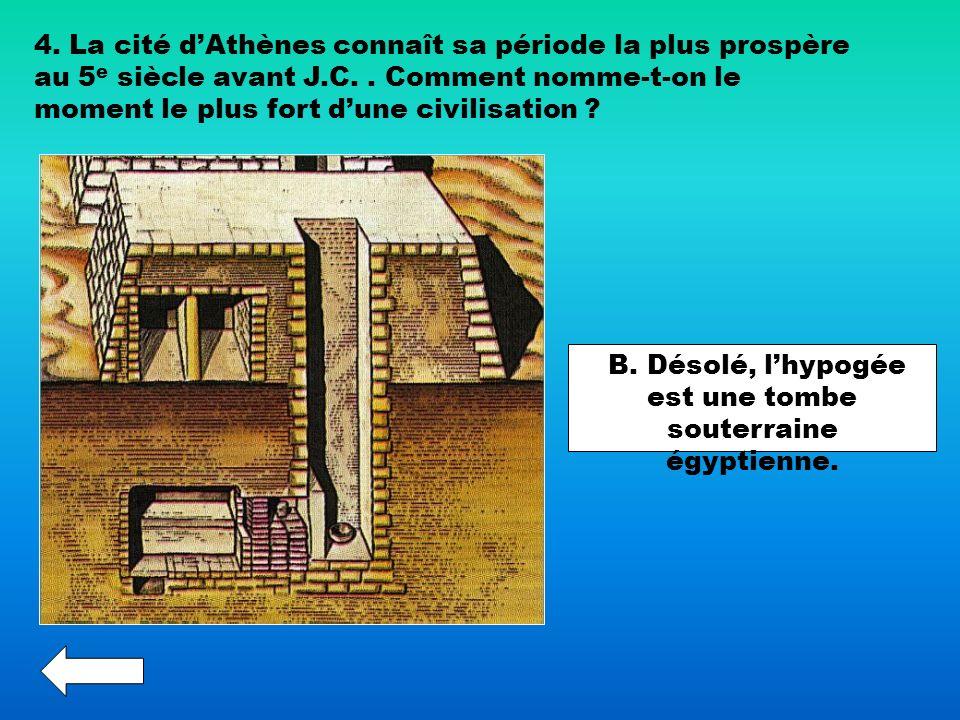 B. Désolé, l'hypogée est une tombe souterraine égyptienne.