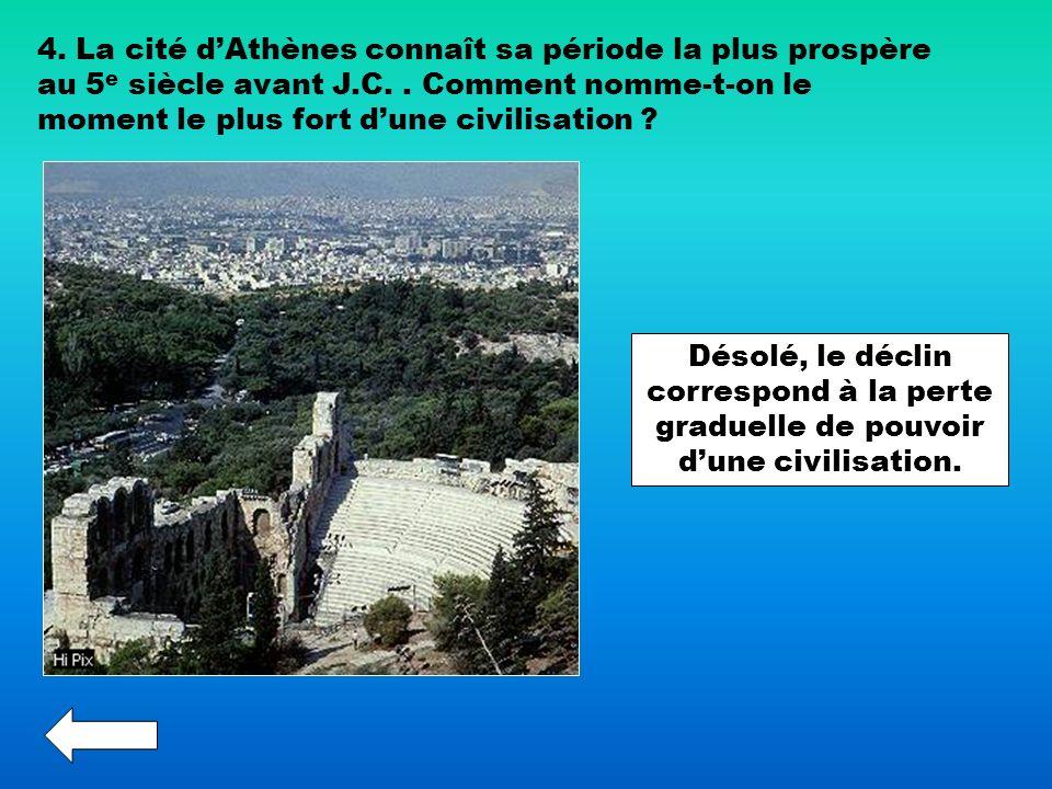 4. La cité d'Athènes connaît sa période la plus prospère au 5e siècle avant J.C. . Comment nomme-t-on le moment le plus fort d'une civilisation