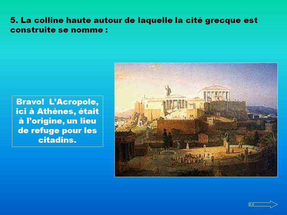 5. La colline haute autour de laquelle la cité grecque est construite se nomme :