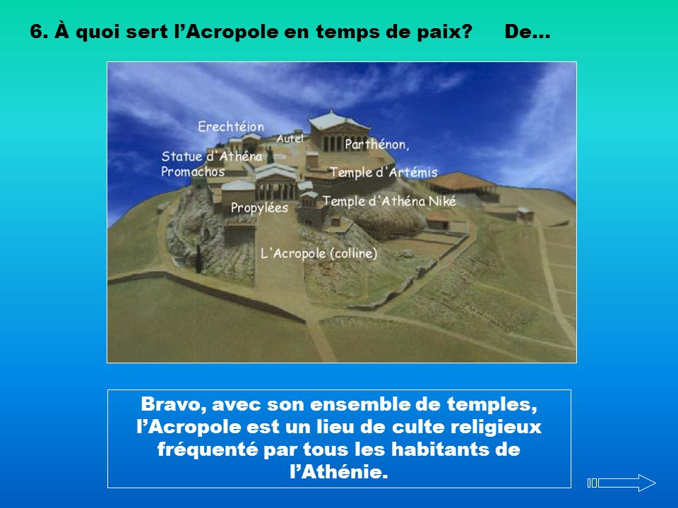 6. À quoi sert l'Acropole en temps de paix