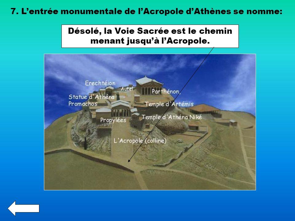 Désolé, la Voie Sacrée est le chemin menant jusqu'à l'Acropole.