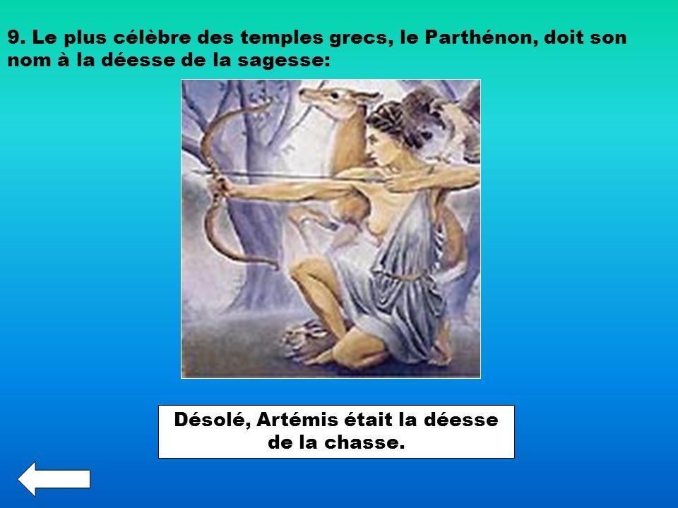 Désolé, Artémis était la déesse de la chasse.