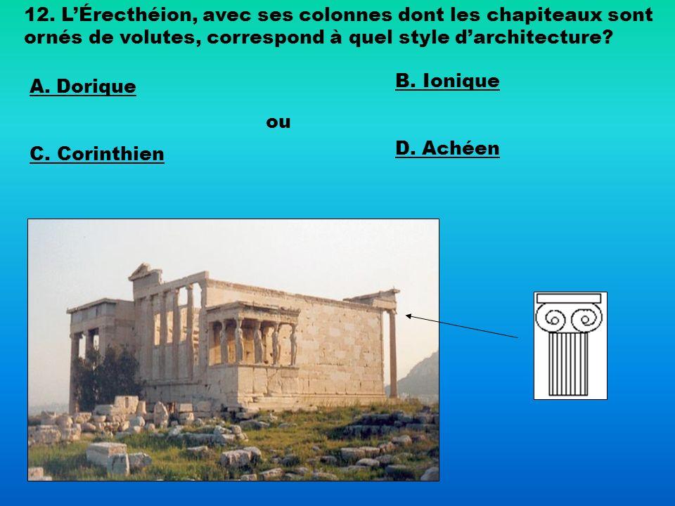 12. L'Érecthéion, avec ses colonnes dont les chapiteaux sont ornés de volutes, correspond à quel style d'architecture