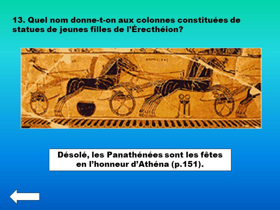 Désolé, les Panathénées sont les fêtes en l'honneur d'Athéna (p.151).