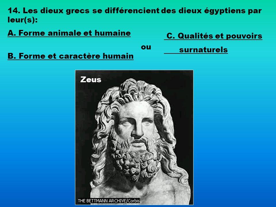 14. Les dieux grecs se différencient des dieux égyptiens par leur(s):