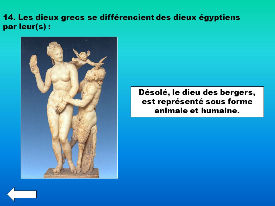 14. Les dieux grecs se différencient des dieux égyptiens par leur(s) :
