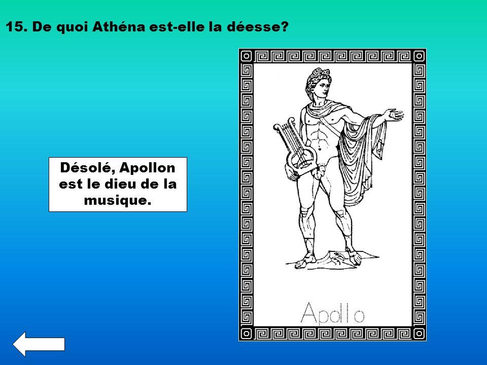 Désolé, Apollon est le dieu de la musique.