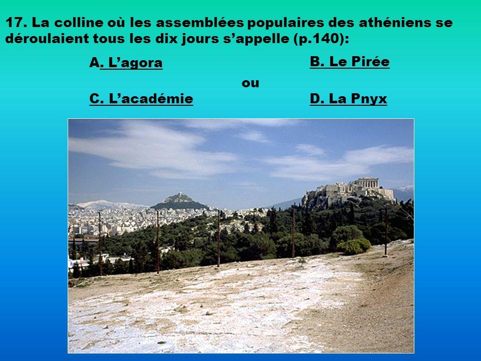 17. La colline où les assemblées populaires des athéniens se déroulaient tous les dix jours s'appelle (p.140):