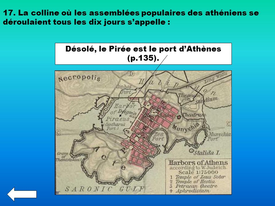 Désolé, le Pirée est le port d'Athènes (p.135).