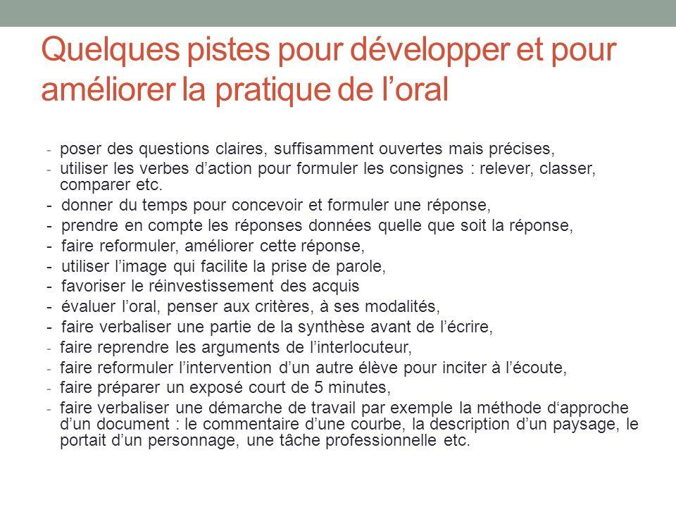 Quelques pistes pour développer et pour améliorer la pratique de l'oral