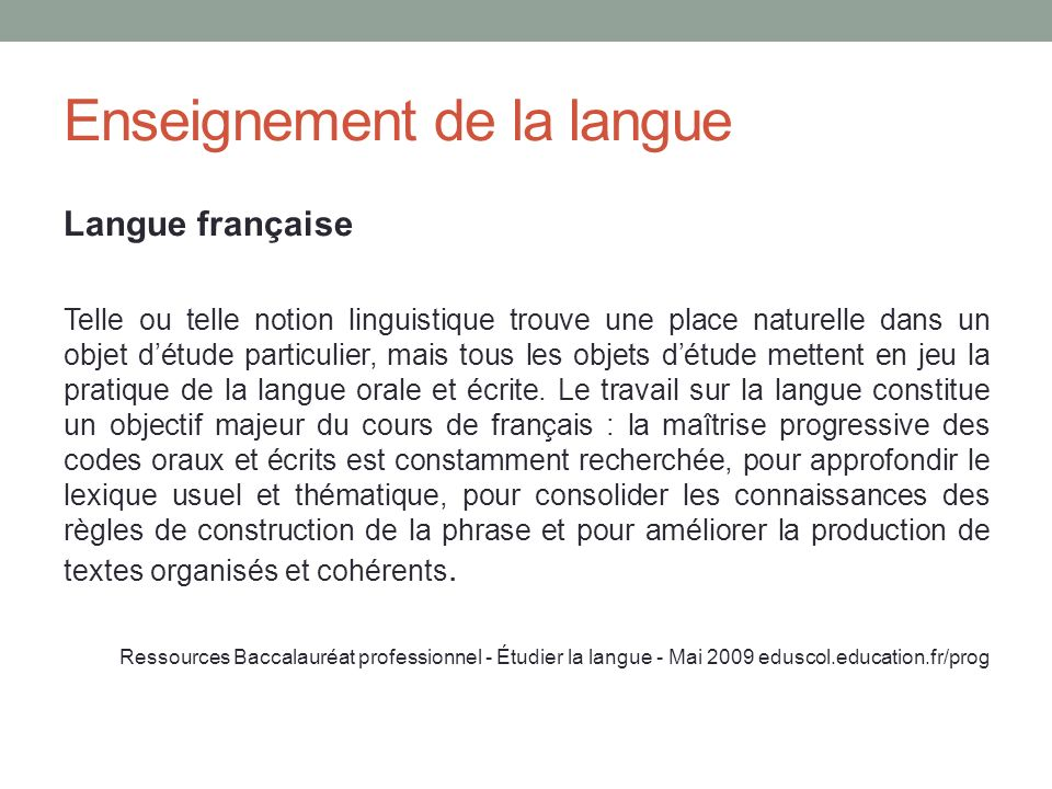Enseignement de la langue