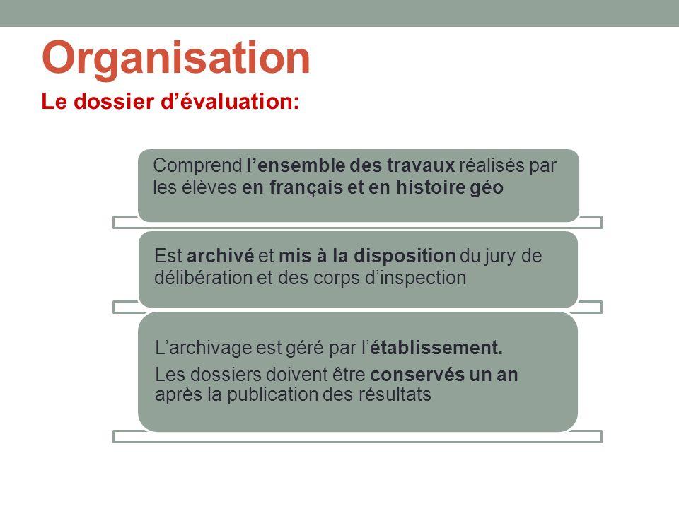 Organisation Le dossier d'évaluation: