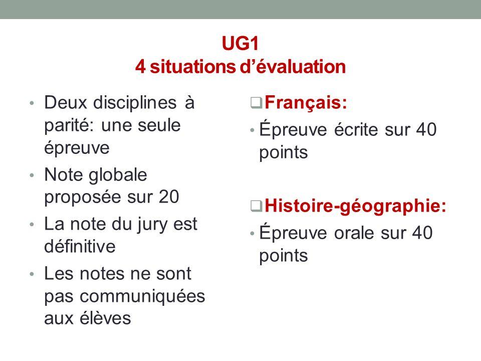 UG1 4 situations d'évaluation