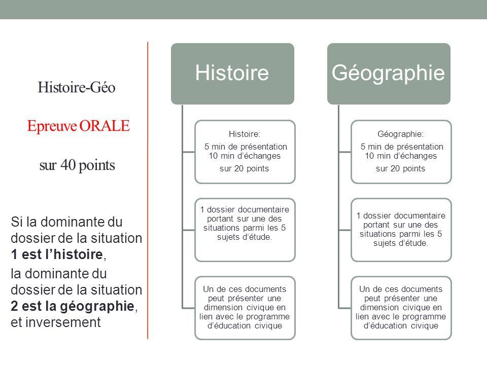 Histoire-Géo Epreuve ORALE sur 40 points