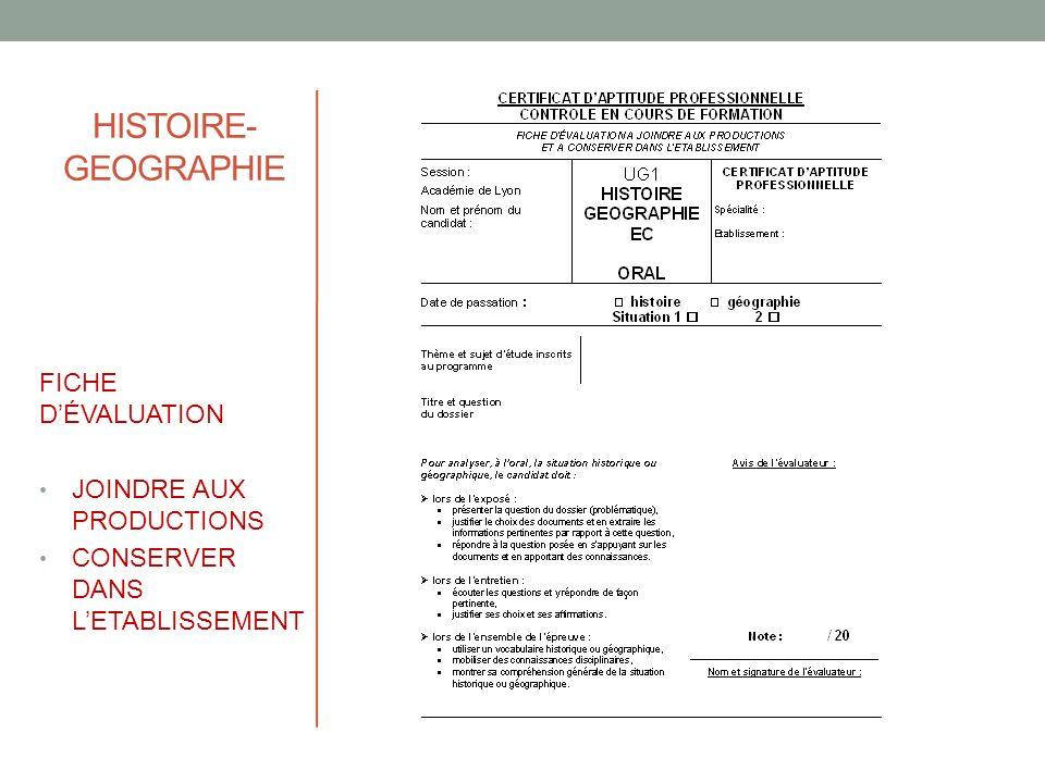 HISTOIRE-GEOGRAPHIE FICHE D'ÉVALUATION JOINDRE AUX PRODUCTIONS