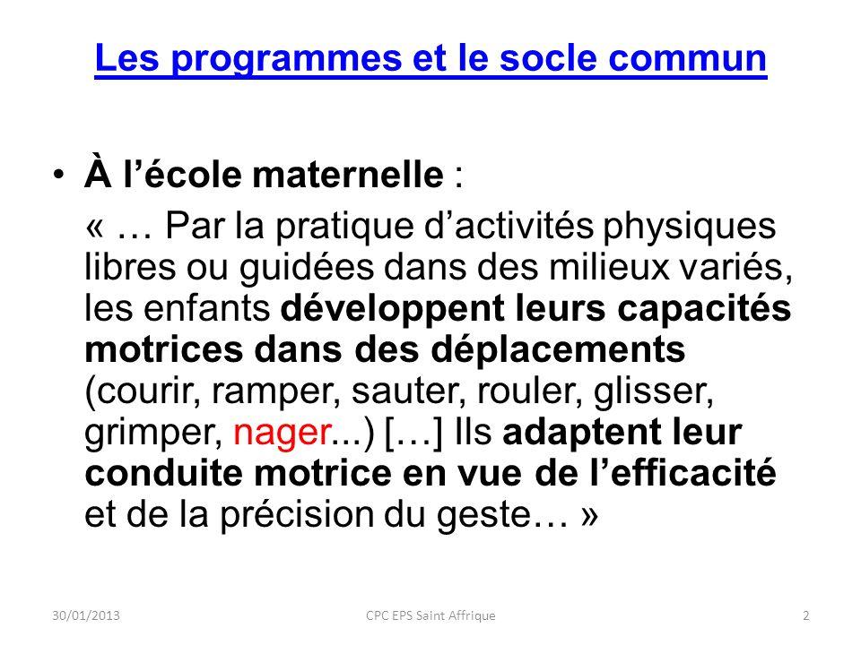 Les programmes et le socle commun