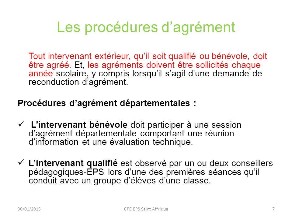 Les procédures d'agrément