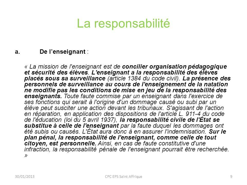 La responsabilité De l'enseignant :