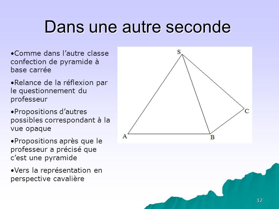 Dans une autre seconde Comme dans l'autre classe confection de pyramide à base carrée. Relance de la réflexion par le questionnement du professeur.