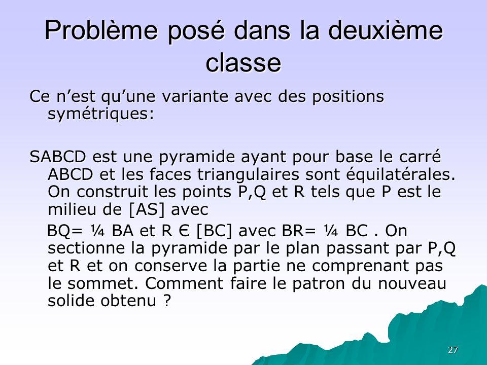 Problème posé dans la deuxième classe